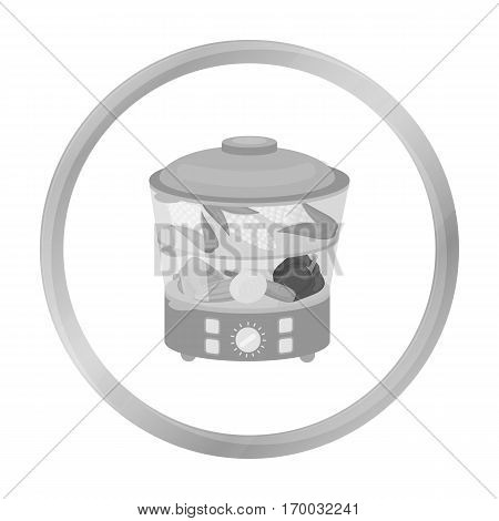Food steamer icon in monochrome style isolated on white background. Household appliance symbol vector illustration.