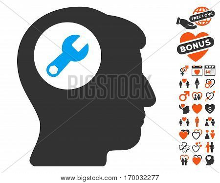 Head Wrench pictograph with bonus romantic clip art. Vector illustration style is flat iconic symbols for web design app user interfaces.