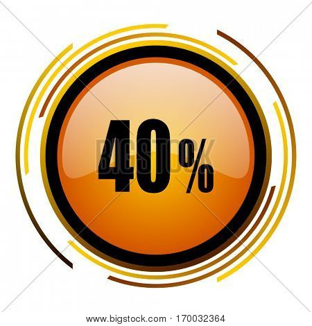 40 percent sale sign vector icon. Modern design round orange button isolated on white square background for web and application designers in eps10.