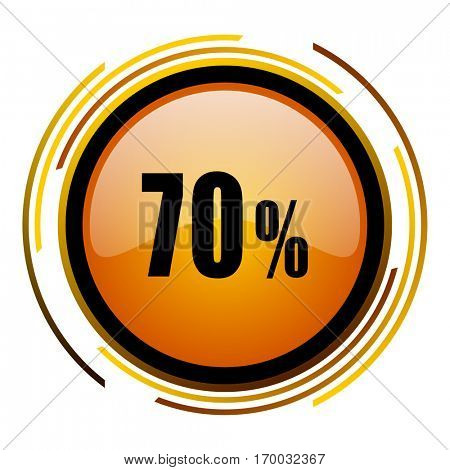 70 percent sale sign vector icon. Modern design round orange button isolated on white square background for web and application designers in eps10.