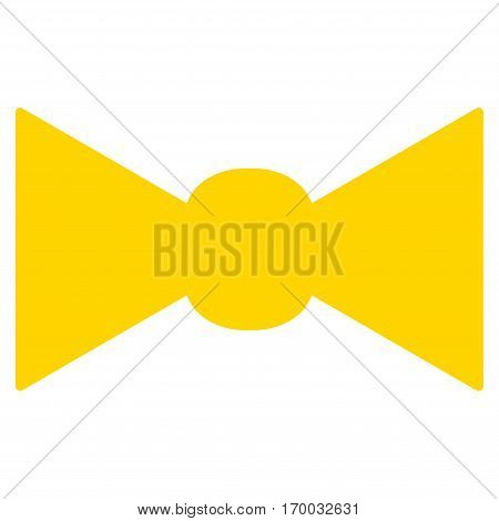 Bow Tie vector icon symbol. Flat pictogram designed with yellow and isolated on a white background.