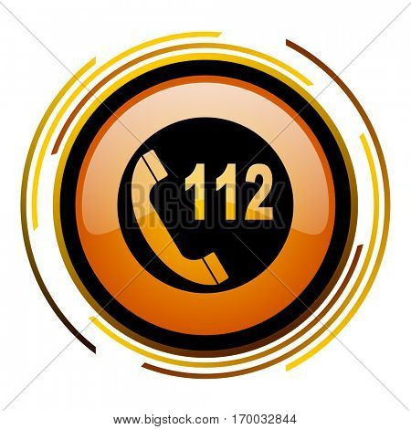 Emergency 112 call number sign vector icon. Modern design round orange button isolated on white square background for web and application designers in eps10.