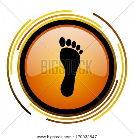 Human foot print sign vector icon. Modern design round orange button isolated on white square background for web and application designers in eps10.