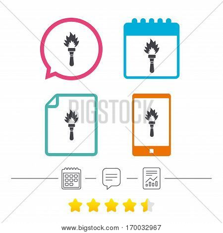 Torch flame sign icon. Fire flaming symbol. Calendar, chat speech bubble and report linear icons. Star vote ranking. Vector