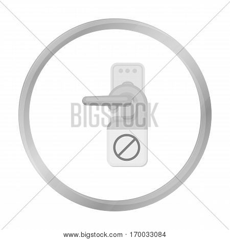Do not disturb sign icon in monochrome style isolated on white background. Hotel symbol vector illustration.