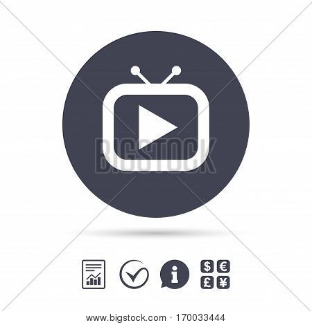 Retro TV mode sign icon. Television set symbol. Report document, information and check tick icons. Currency exchange. Vector