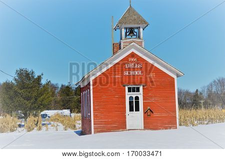 Old Historic one room school house. Dells Pond is a historic settlement in Wisconsin. DELLS POND WISCONSIN