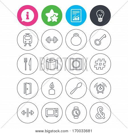 Information, light bulb and report signs. Universal icons. Fitness dumbbell, home key and candle. Toilet paper, knife and fork. Microwave oven. Favorite star symbol. Flat buttons. Vector