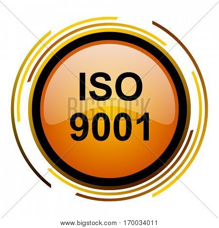 ISO 9001 sign vector icon. Modern design round orange button isolated on white square background for web and application designers in eps10.