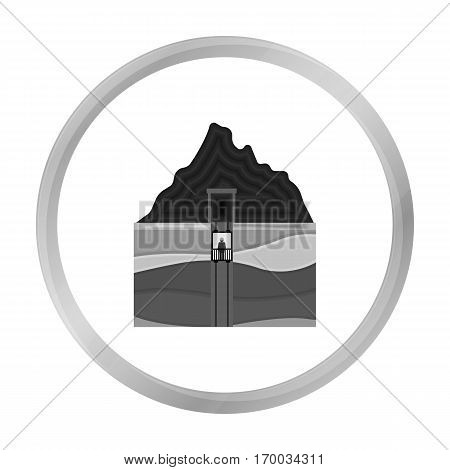 Mine shaft icon in monochrome style isolated on white background. Mine symbol vector illustration.