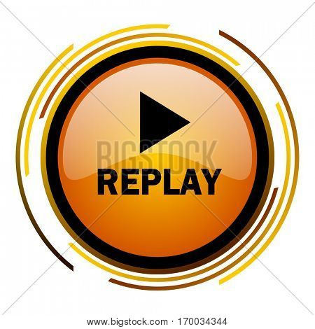 Replay sign vector icon. Modern design round orange button isolated on white square background for web and application designers in eps10.