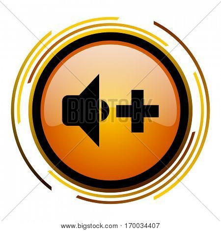 Volume speaker sign vector icon. Modern design round orange button isolated on white square background for web and application designers in eps10.