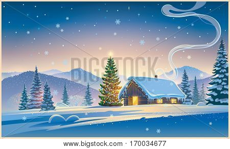 Forest landscape with winter house and festive  Christmas trees.