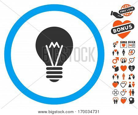 Hint Bulb icon with bonus love pictograms. Vector illustration style is flat iconic symbols for web design app user interfaces.