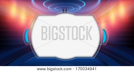 Empty 3D Studio Space Big Transparent Flat Screen in Front of Colorful Background .3d illustration, 3d rendering
