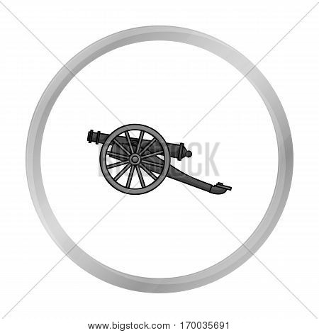 Cannon icon in monochrome style isolated on white background. Museum symbol vector illustration.