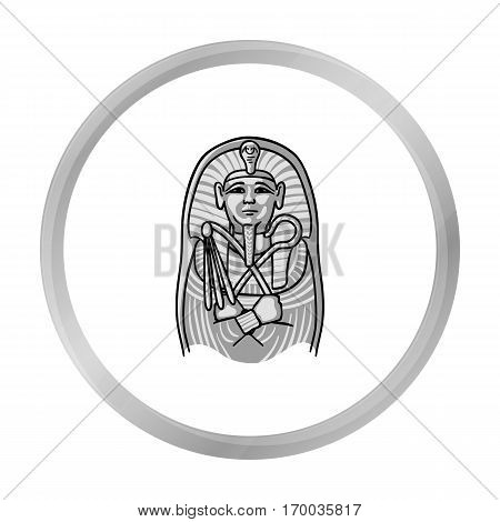 Egyptian pharaoh sarcophagus icon in monochrome style isolated on white background. Museum symbol vector illustration.