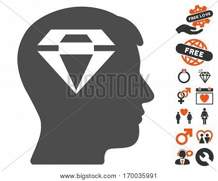 Human Head With Diamond icon with bonus marriage symbols. Vector illustration style is flat iconic elements for web design app user interfaces.