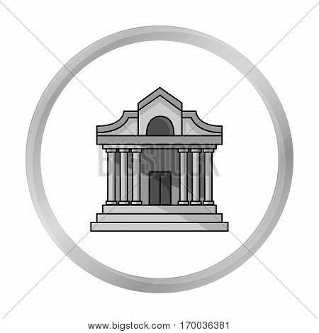 Museum building icon in monochrome style isolated on white background. Museum symbol vector illustration.