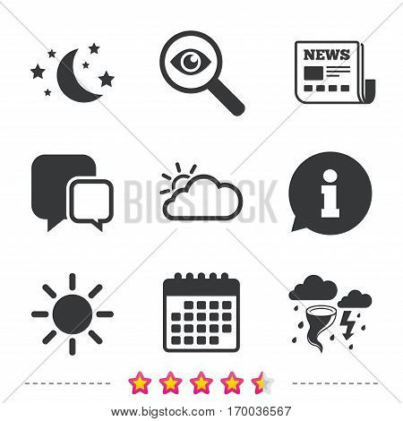 Weather icons. Moon and stars night. Cloud and sun signs. Storm or thunderstorm with lightning symbol. Newspaper, information and calendar icons. Investigate magnifier, chat symbol. Vector