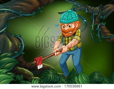 Lumberjack chopping down tree