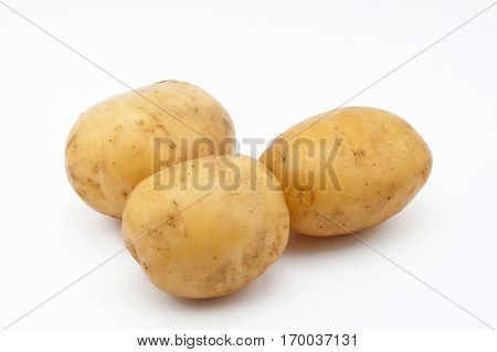 Quality of potatoes melt. Potatoes isolated on white background