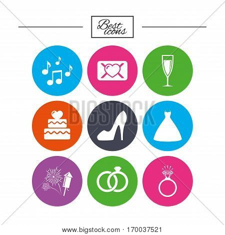 Wedding, engagement icons. Cake with heart, gift box and vow love letter signs. Dress, fireworks and musical notes symbols. Classic simple flat icons. Vector
