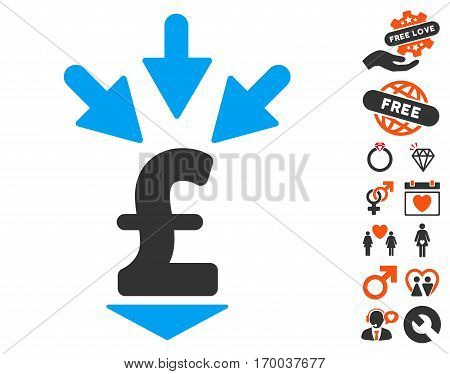 Integrate Pound Payment icon with bonus dating pictures. Vector illustration style is flat iconic elements for web design app user interfaces.