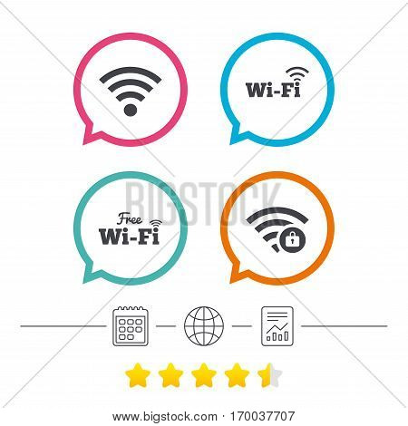 Free Wifi Wireless Network icons. Wi-fi zone locked symbols. Password protected Wi-fi sign. Calendar, internet globe and report linear icons. Star vote ranking. Vector