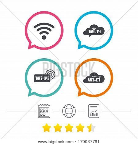 Free Wifi Wireless Network cloud speech bubble icons. Wi-fi zone sign symbols. Calendar, internet globe and report linear icons. Star vote ranking. Vector