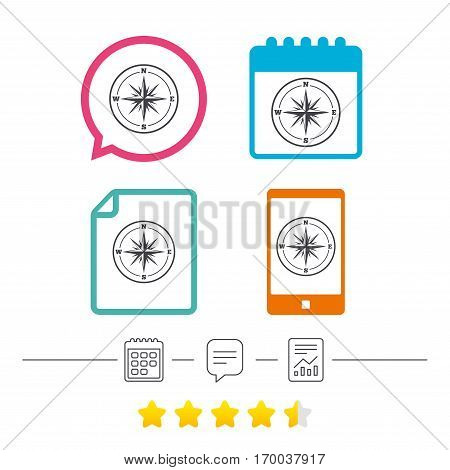 Compass sign icon. Windrose navigation symbol. Calendar, chat speech bubble and report linear icons. Star vote ranking. Vector