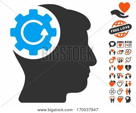 Intellect Gear Rotation pictograph with bonus valentine graphic icons. Vector illustration style is flat iconic symbols for web design app user interfaces.