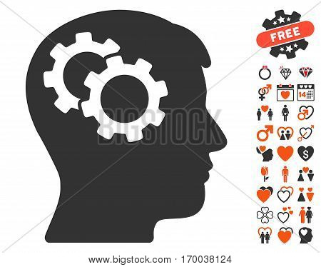Intellect Gears pictograph with bonus decoration images. Vector illustration style is flat iconic symbols for web design app user interfaces.