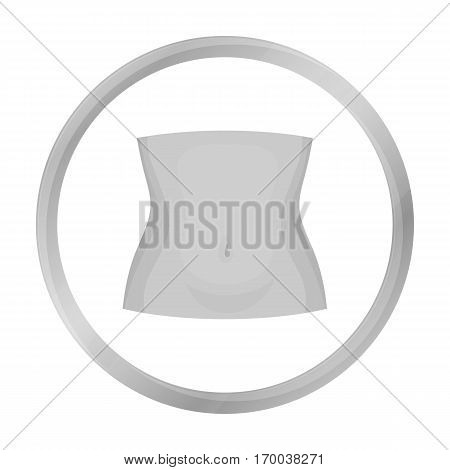 Abdomen icon in monochrome style isolated on white background. Part of body symbol vector illustration.