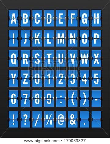 Airport Mechanical Flip Board Panel Font - White Font on Blue Background Vector Illustration
