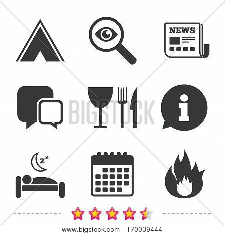 Food, sleep, camping tent and fire icons. Knife, fork and wineglass. Hotel or bed and breakfast. Road signs. Newspaper, information and calendar icons. Investigate magnifier, chat symbol. Vector