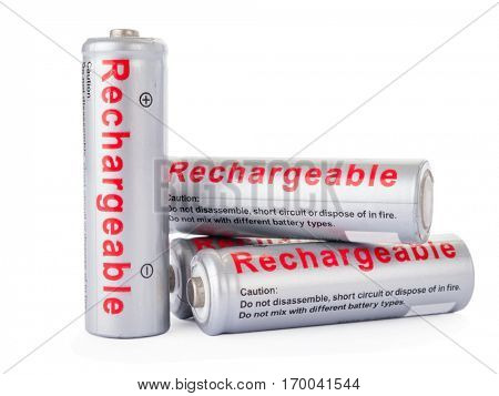 Rechargeable AA batteries isolated on white background.