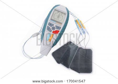 Electro Stimulation equipment used for sports fitness and physiotherapy isolated on white background.