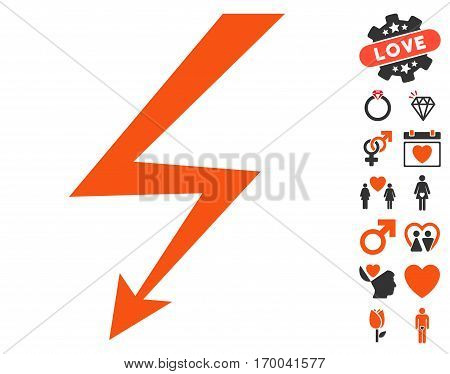 Lightning Strike icon with bonus amour graphic icons. Vector illustration style is flat iconic elements for web design app user interfaces.