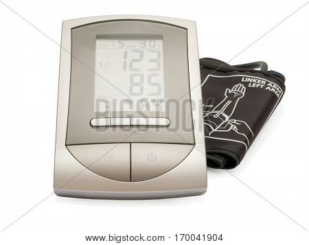 Modern electronic sphygmomanometer (blood pressure measure equipment) isolated on white background.