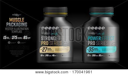 Protein powder tub design template. Sports nutrition and bodybuilding supplement. Whey protein packaging.