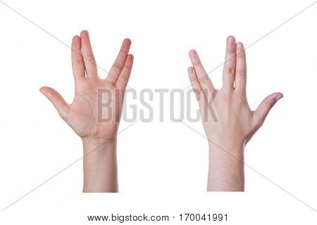 Hand gesture for the Vulcan salute or greeting, and also the Bikat Cohanim or Kohanim priestly blessing for the jews, isolated on white background
