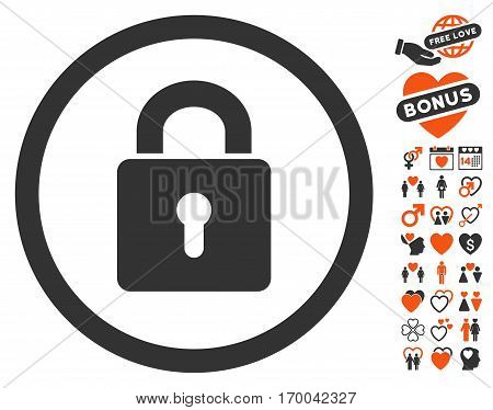 Lock Keyhole pictograph with bonus amour graphic icons. Vector illustration style is flat iconic symbols for web design app user interfaces.