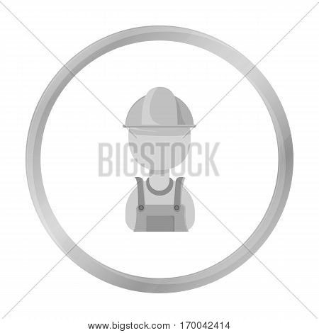 Oil worker icon in monochrome style isolated on white background. Oil industry symbol vector illustration.