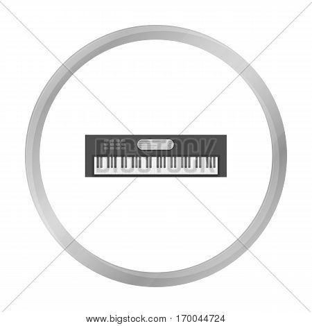 Synthesizer icon in monochrome style isolated on white background. Musical instruments symbol vector illustration