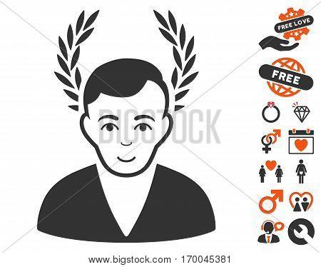 Man Glory icon with bonus passion icon set. Vector illustration style is flat iconic symbols for web design app user interfaces.