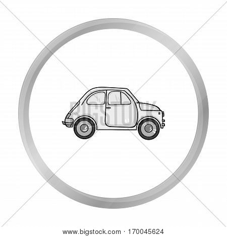Italian retro car from Italy icon in monochrome style isolated on white background. Italy country symbol vector illustration.