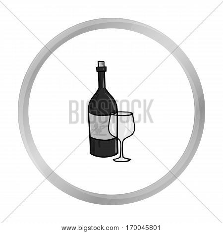 Italian wine from Italy icon in monochrome style isolated on white background. Italy country symbol vector illustration.