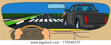 Vector Hidden Pedestrian traffic regulation and awareness truck is blocking vision of driver as he is unable to clearly see boy crossing road so  slow down reduce speed to avoid unexpected accident