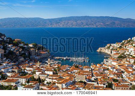 Bird's eye view of Hydra island, Greece.